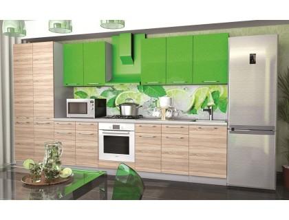 Кухня София (модульная) зелёный металлик (верх) / дуб сонома (низ)