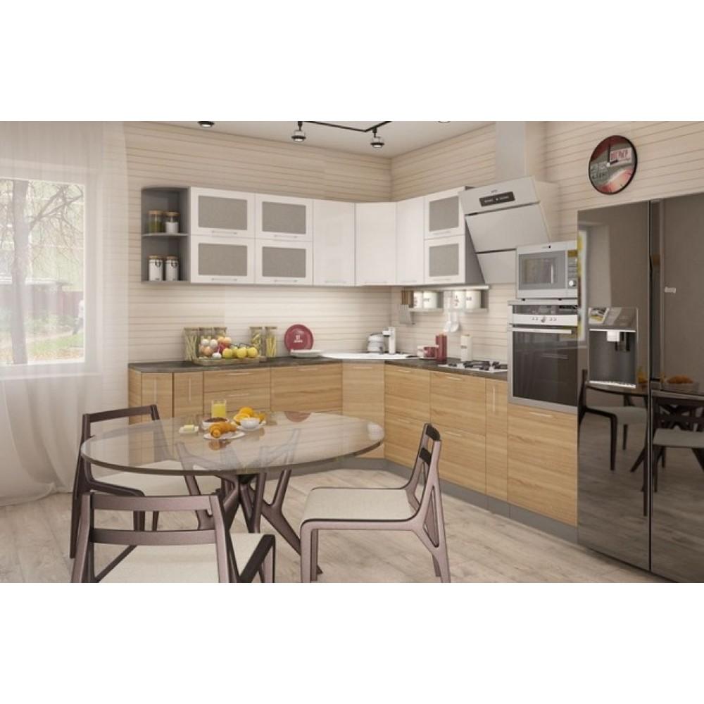 Кухня белый глянец / дуб сонома