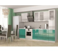 Кухня Олива 3D ( Белый/ бирюза)  2,2м с пеналом