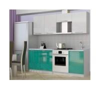 Кухня Олива 3D ( Белый/ бирюза) 2,1 м